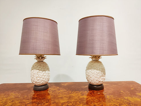 Pair of ceramic pineapple Table Lamps, italy, 1960s