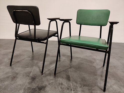 SOLD Pair of vintage industrial armchairs by Pierre Guariche for Meurop, 1950s