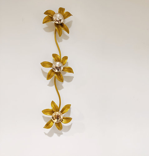 Brass Regency Flower Wall- or Ceiling Light in the style of Willy Daro, 1970's