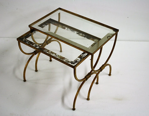 Set of gilt metal neoclassical nesting tables 1960s