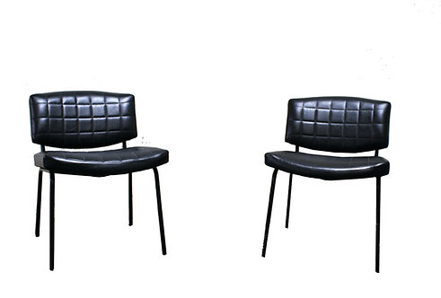 Pair Of Vintage Conseil Chairs In Black Leatherette And Metal, Pierre Guariche 1