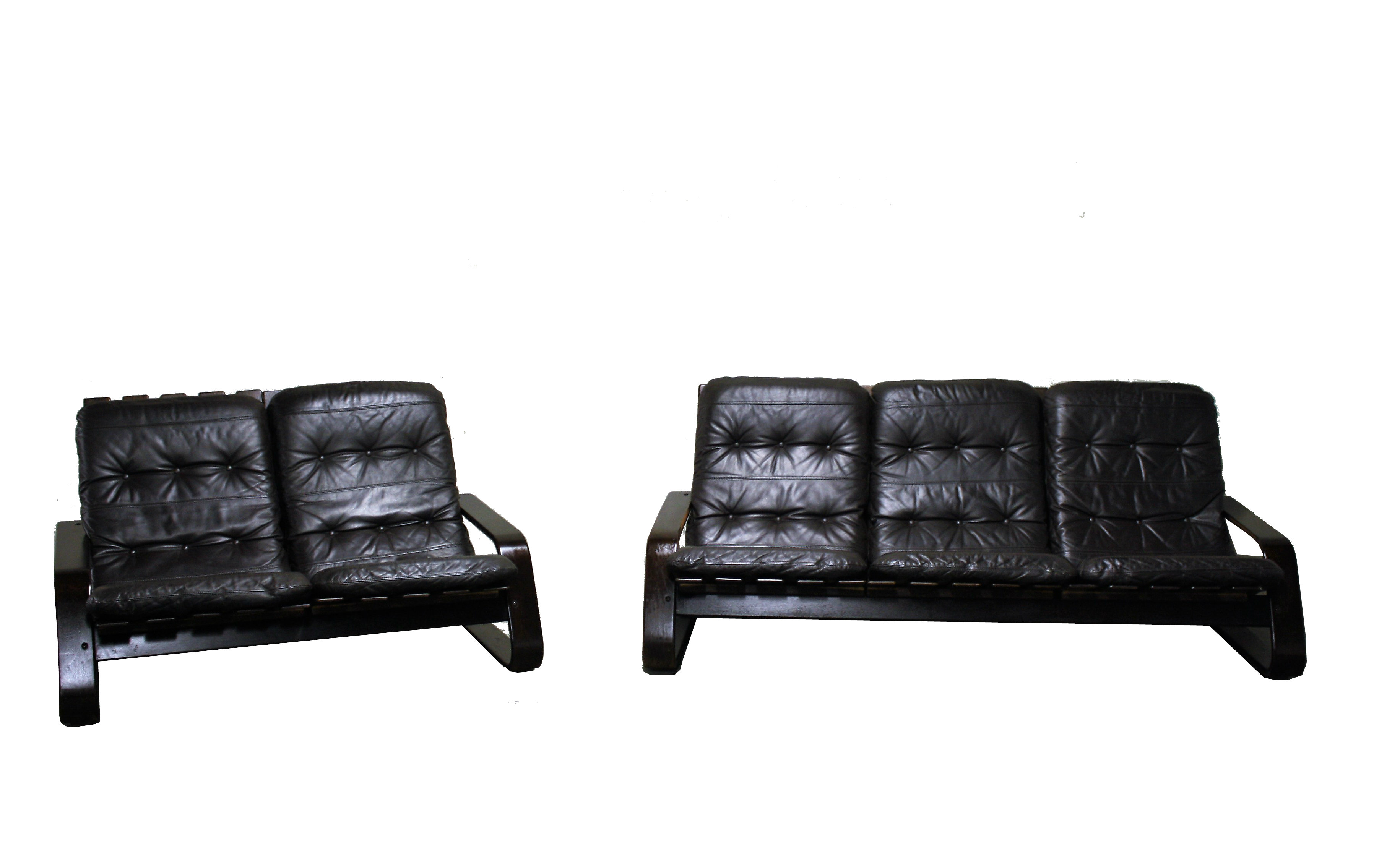 Scandinavian bent wood leather sofa set in the style of westnofa 1960s