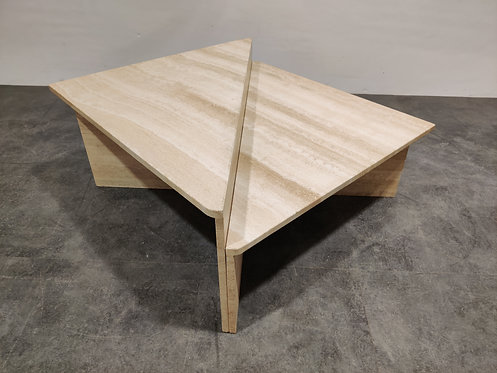 SOLD Up & Up travertine triangular coffee tables, 1970s