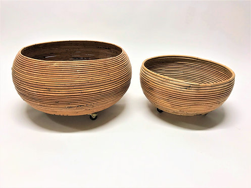Vintage bamboo planters in the style of gabriella Crespi, 1960s