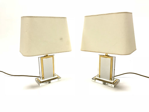Vintage brass and lucite table lamps, pair, 1970s