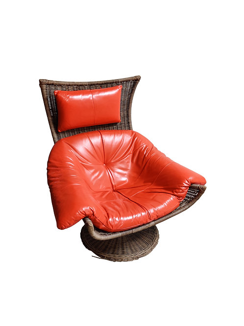 SOLD Vintage leather and rattan lounge chair by Gerard van den berg