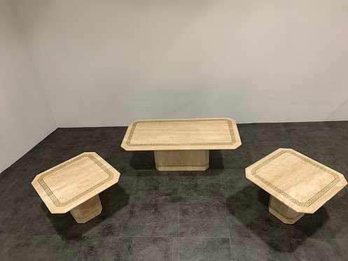 Vintage travertine coffee table and side tables, 1980s