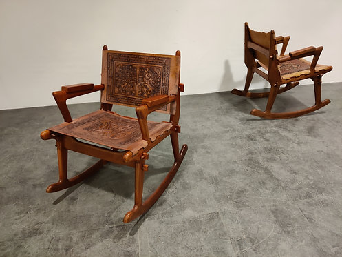 Angel Pazmino Leather and Wood Rocking Chairs, set of 2 - 1960s