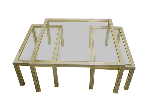Brass and chrome coffee tables in the style of romeo re