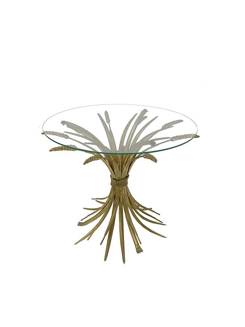 Vintage gilt metal sheaf of wheat coco chanel side table, 1960s