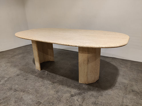 SOLD Vintage travertine dining table, 1970s