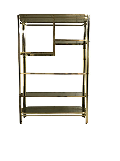 SOLD Brass and smoked glass etagere, 1970s