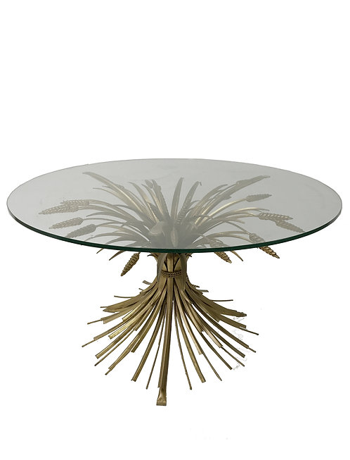 Vintage gilt metal sheaf of wheat coco chanel side table