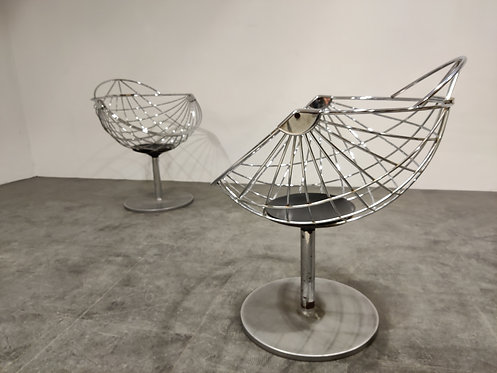 Pair of chrome lounge chairs by Rudi Verelst, 1970s