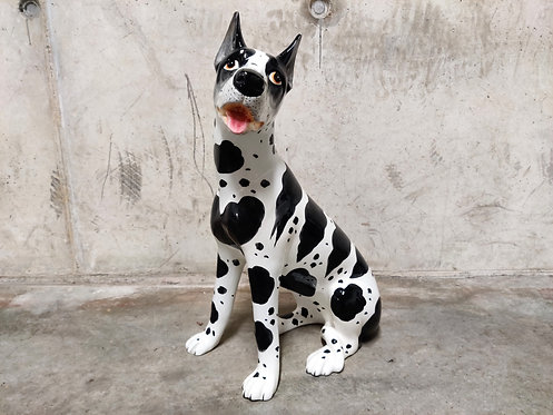 Vintage painted ceramic dog scuplture, 1960s