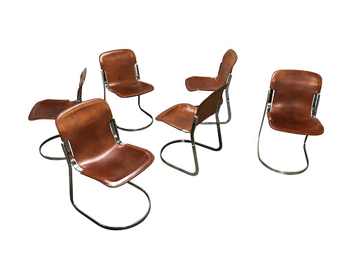 SOLD Vintage dining chairs by Willy Rizzo for cidue set of 6, 1970s