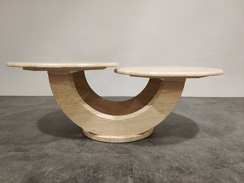 SOLD Vintage two tier travertine coffee table, 1970s