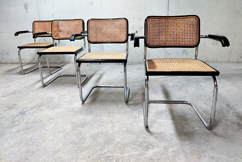 Vintage Marcel Breuer Cesca B64 chairs, made in italy, 1970s  (set of 4)