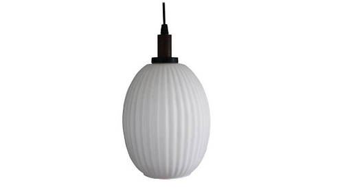 SOLD Scandinavian Teak & Milk Glass Pendant Light, 1960s