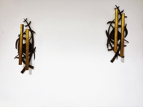 Pair of brutalist brass wall lamps, 1970s