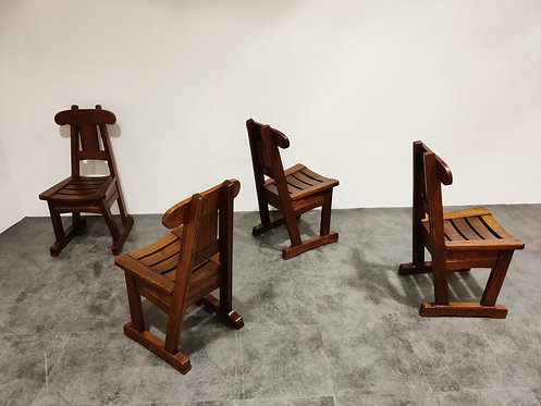 SOLD Vintage brutalist dining chairs, set of 4 - 1960s