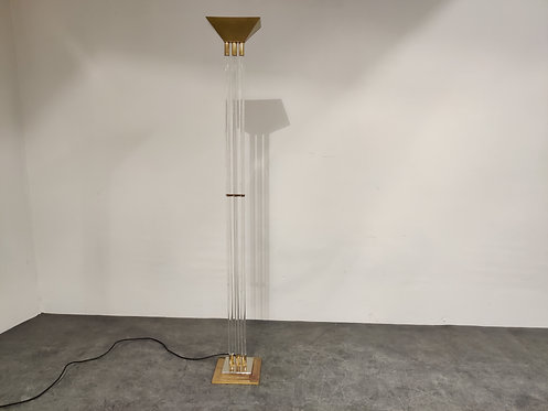 Vintage Brass and Lucite Floor Lamp, 1970s