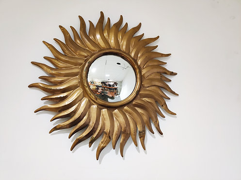 Vintage gilt metal sunburst mirror 1960s