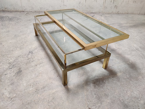 Vintage brass sliding top coffee table, 1970s