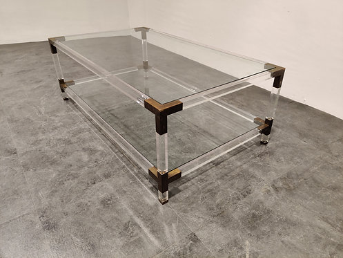 SOLD Lucite and brass coffee table by Charles Hollis Jones, 1970s