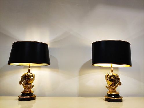 SOLD Pair of Brass Horse Head Table Lamps, 1970s Belgium