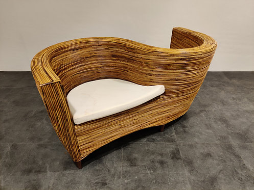 SOLD Rattan conversation chair by Vivai Del sud, 1980s