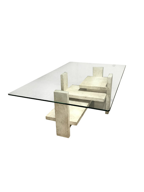 Travertine coffee table by Willy Ballez,1970s