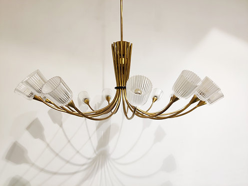 SOLD Large vintage brass spider chandelier, 1960s