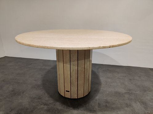 Round travertine dining table by Jean Charles 1970s