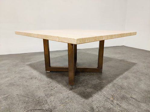 SOLD Travertine and brass coffee table, 1980s