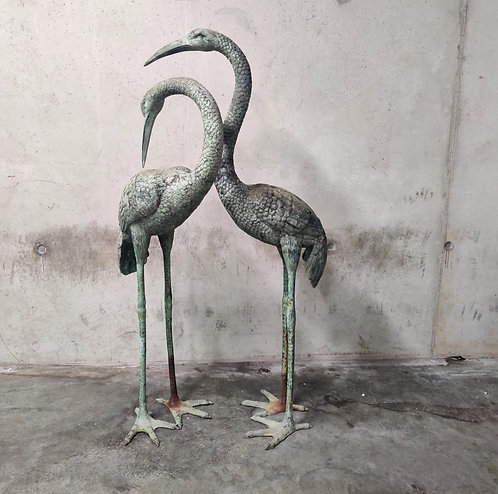 SOLD Pair of patinated bronze xxl crane bird statues, 1970s