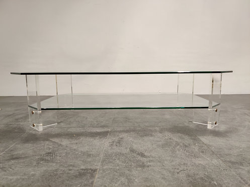 Lucite and glass coffee table, 1970s