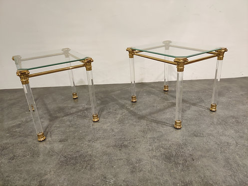 SOLD Vintage lucite and brass side tables, 1980s