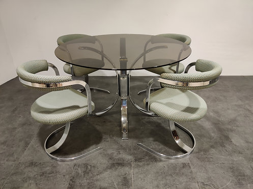 SOLD Mid century chrome dining chairs and table, 1970s