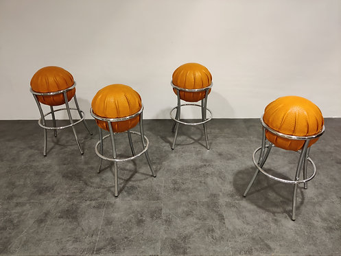 Vintage ostrich leather bar stools, 1970s