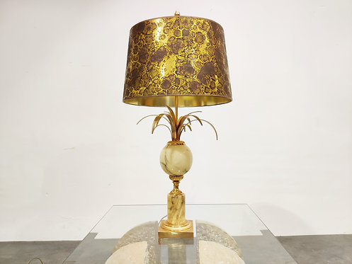 Brass and marble pineapple leaf table lamp 1960s