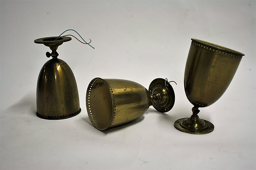 Antique copper wall lights, set of 3, 1950s