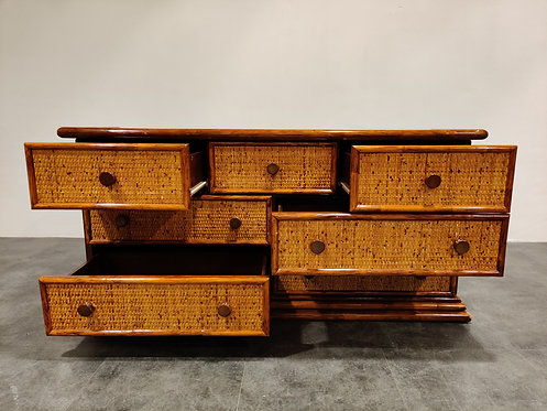 SOLD Vintage rattan chest of drawers by maugrion, 1970s
