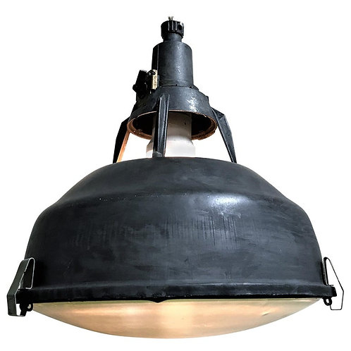 Vintage industrial pendant light with glass, 1960s