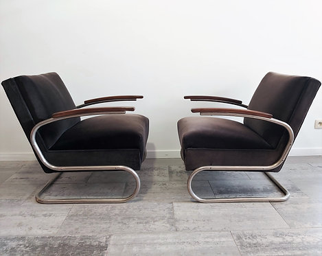 Cantilever S-411 Armchairs by W. H. Gispen for Mücke Melder, 1930s, Set of 2