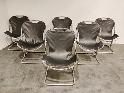 Vintage chrome dining chairs, 1970s