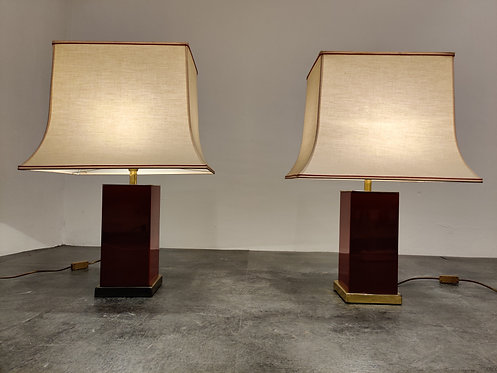 Pair of red lacquered table lamps, 1970s