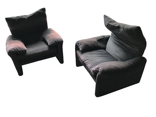Maralunga armchairs by Vico Magistretti for Cassina, 1973, set of two