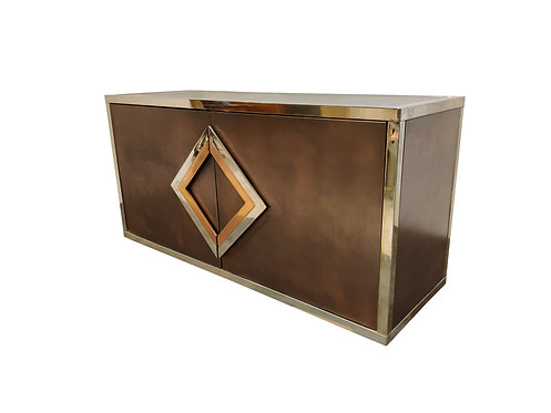 SOLD Brass and copper sideboard by Maison Jansen, 1970s