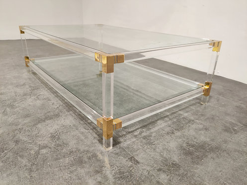SOLD Lucite and brass coffee table, 1970s